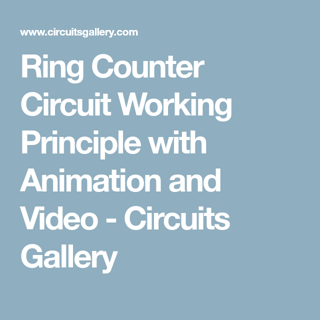 Marvelous Ring Counter Circuit Working Principle With Animation And Video Wiring 101 Capemaxxcnl
