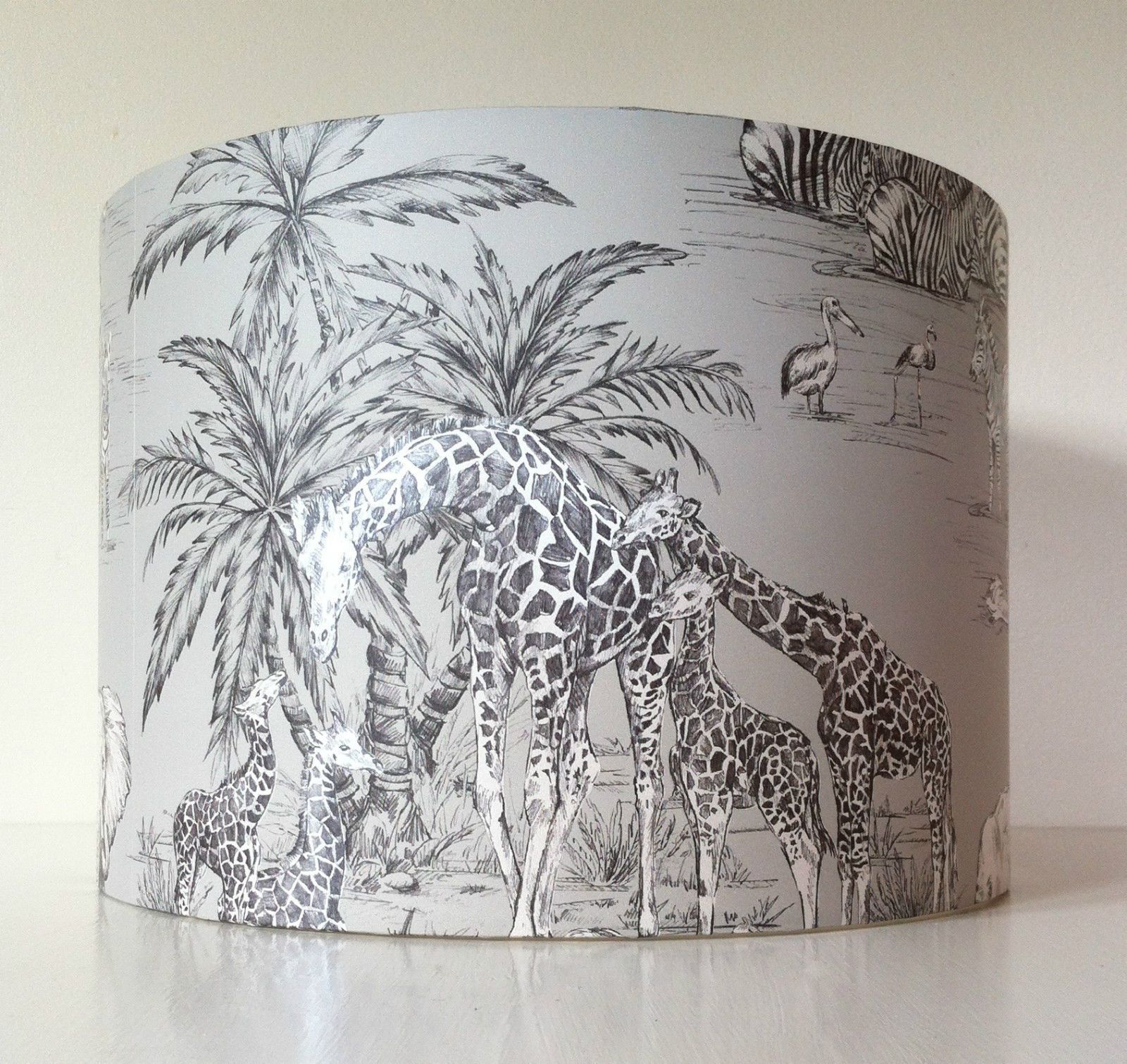 Buq watering hole giraffe elephant safari wallpaper handmade drum