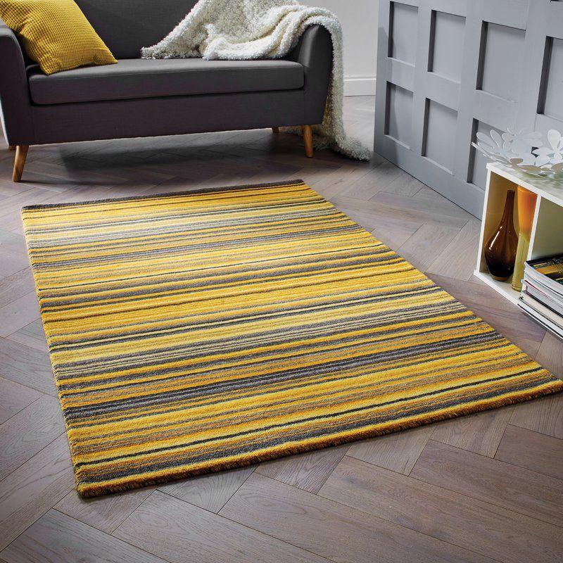 Hand Woven Wool Yellow Rug Yellow Rug Yellow Grey Rug Blue Grey Rug