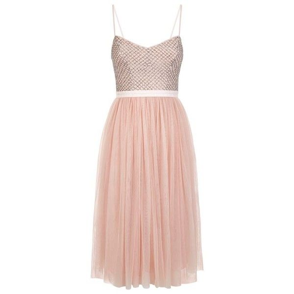 Needle & Thread Coppelia Ballet Dress ($185) ❤ liked on Polyvore featuring dresses, beaded cocktail dress, tulle cocktail dress, pink pleated dress, ballerina dress and pleated dress