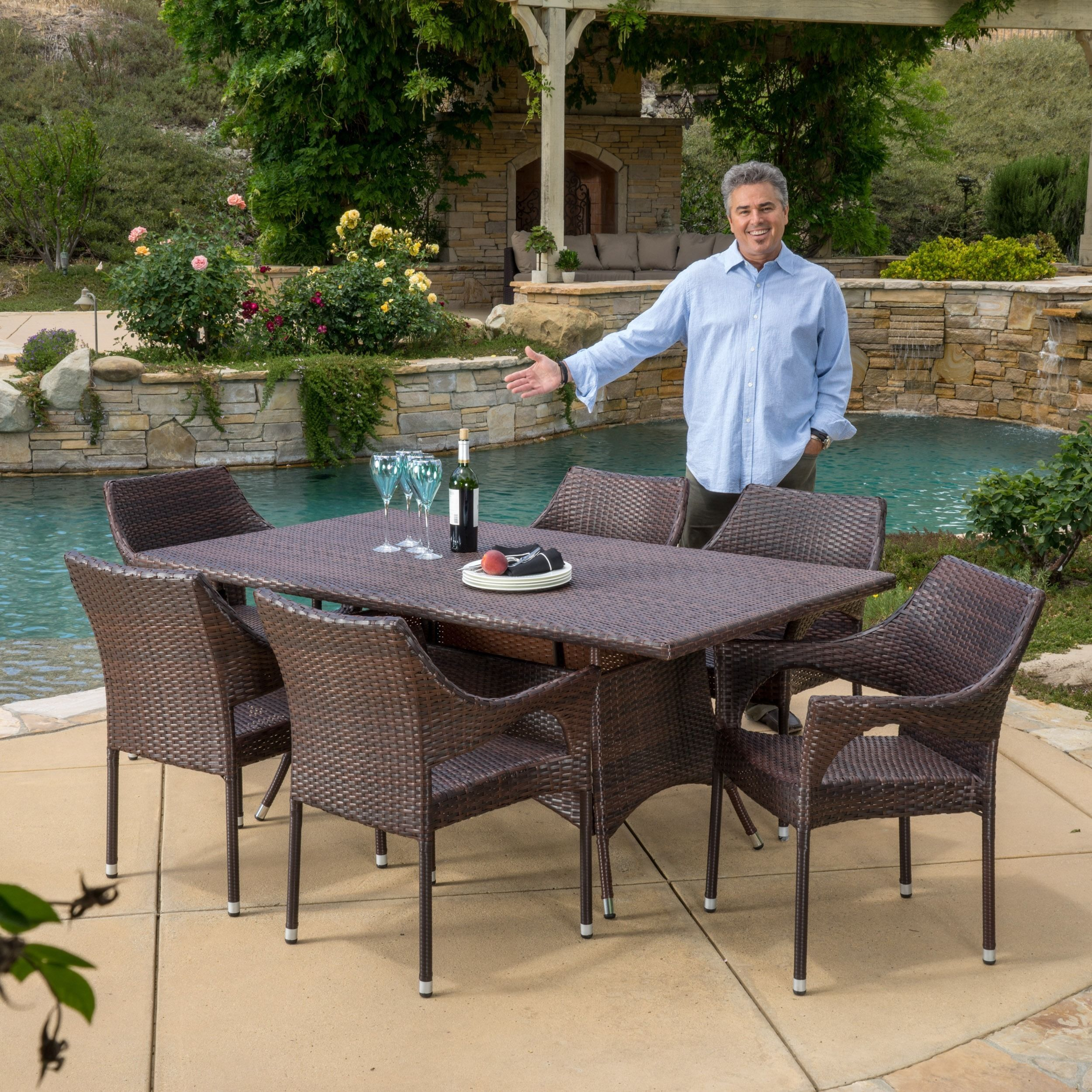 Home garden furniture  Sinclair Outdoor piece Wicker Dining Set by Christopher Knight