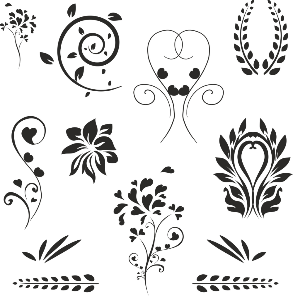 Floral Decoration Set Free Vector cdr Download 3axis.co