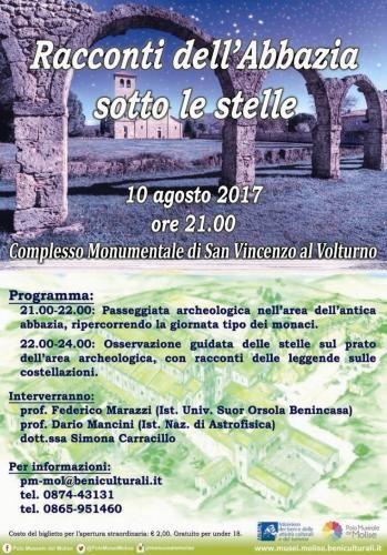 Racconti dellAbbazia sotto le stelle: il 10 agosto a San Vincenzo al Volturno