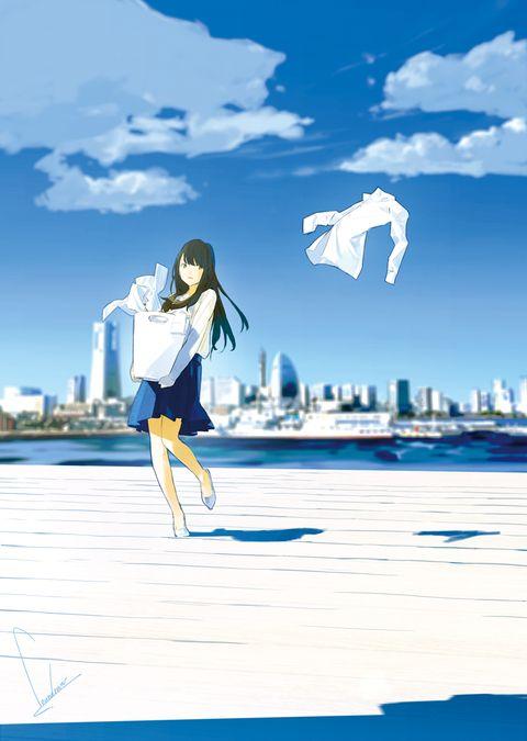 森山あけみさんの 元町クリーニング屋 横浜サンドリヨン 洗濯ときどき謎解き の表紙を担当させていただきました アニメの風景 芸術的アニメ少女 イラスト