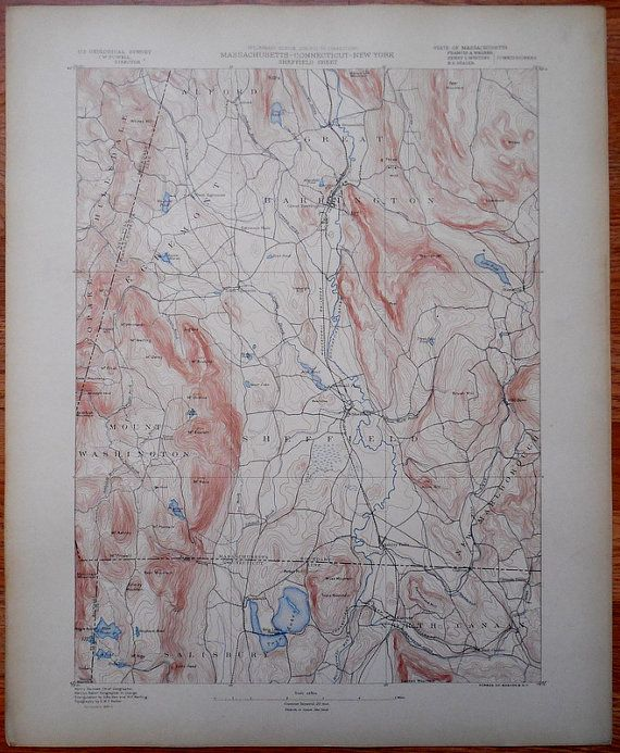 1890 Map Mount Washington Sheffield Milford Egremont Great