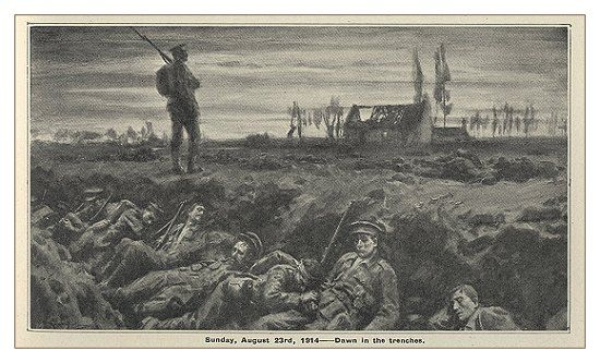 The men of II Corps were arriving in Le Cateau. They were tired, worn, and in generally low spirits. In just a few days, they had enlisted, travelled down from Bury to Southampton, sailed across to Boulogne, then marched two days towards Cambrai, where they would stand and fight. (8,000 casualties inflicted on British rear-guard at the Battle of Le Cateau on 26 Aug.)
