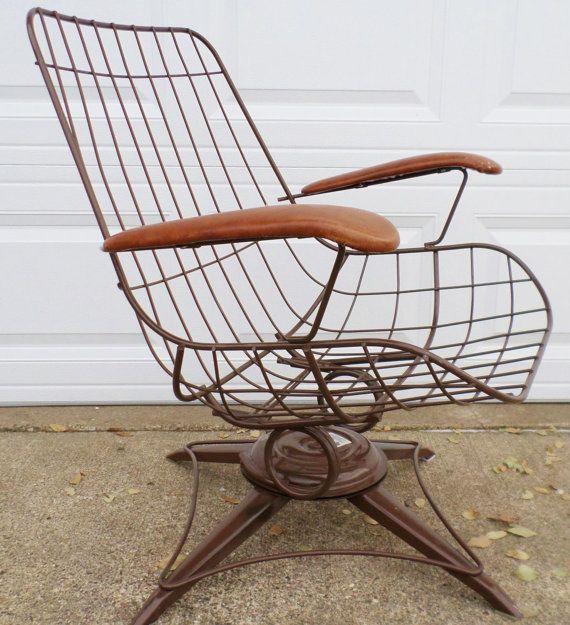 Vintage, Mid Century Modern, Eames Era, Wire Chair, Brown, Homecrest,