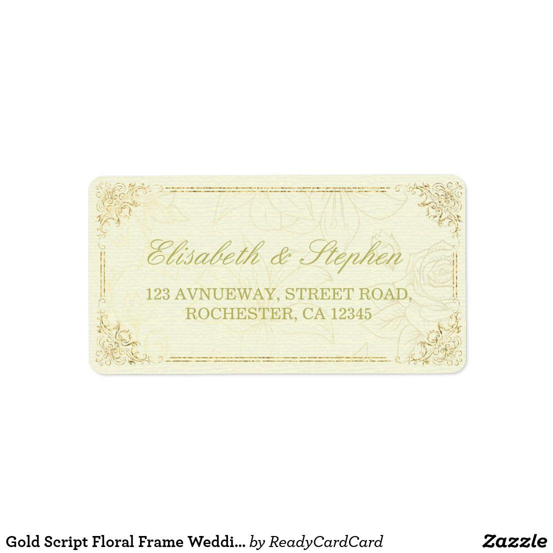 gold script floral frame wedding address label pinterest wedding