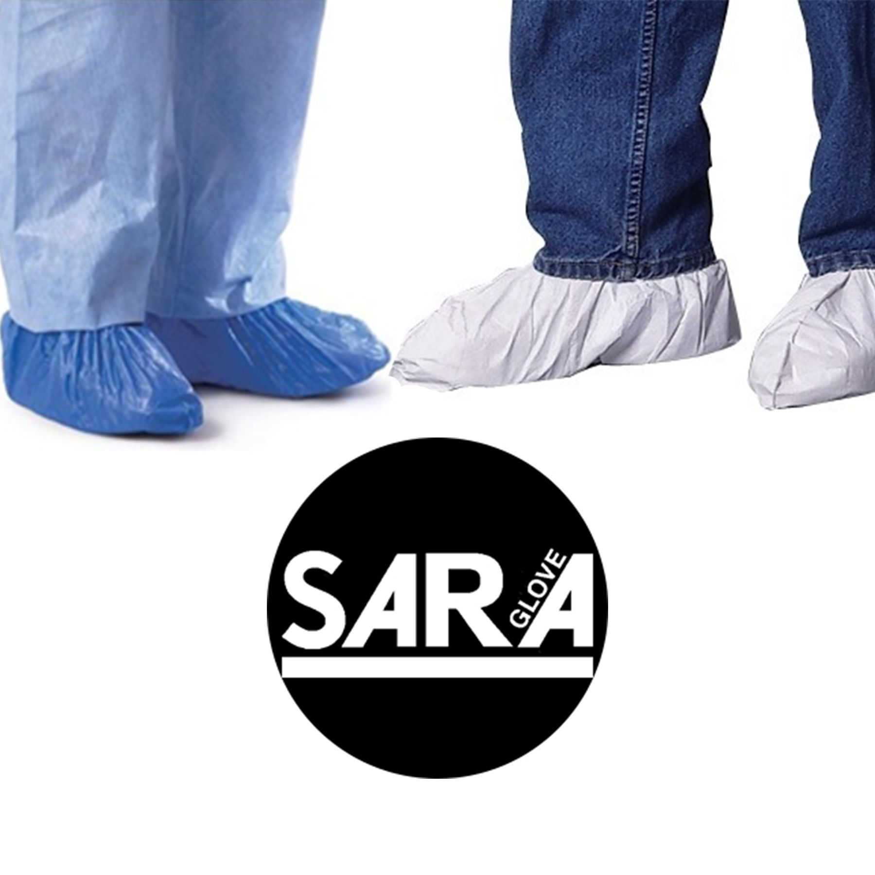 Disposable shoe and boot covers in blue, white, clear, and
