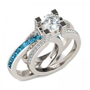 Interchangeable Round Cut Created White Sapphire Rhodium Plated Sterling Silver Engagement Ring