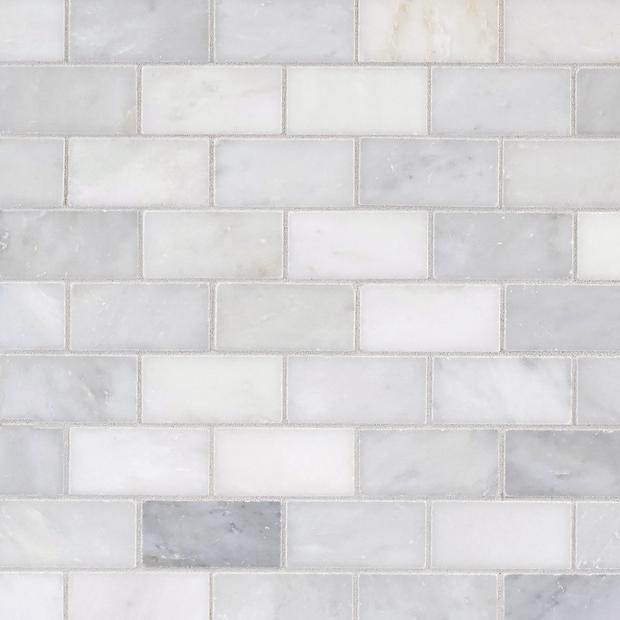 Carrara White Brick Marble Mosaic Floor Decor Kitchen Backsplash Designs White Tile Backsplash White Kitchen Backsplash