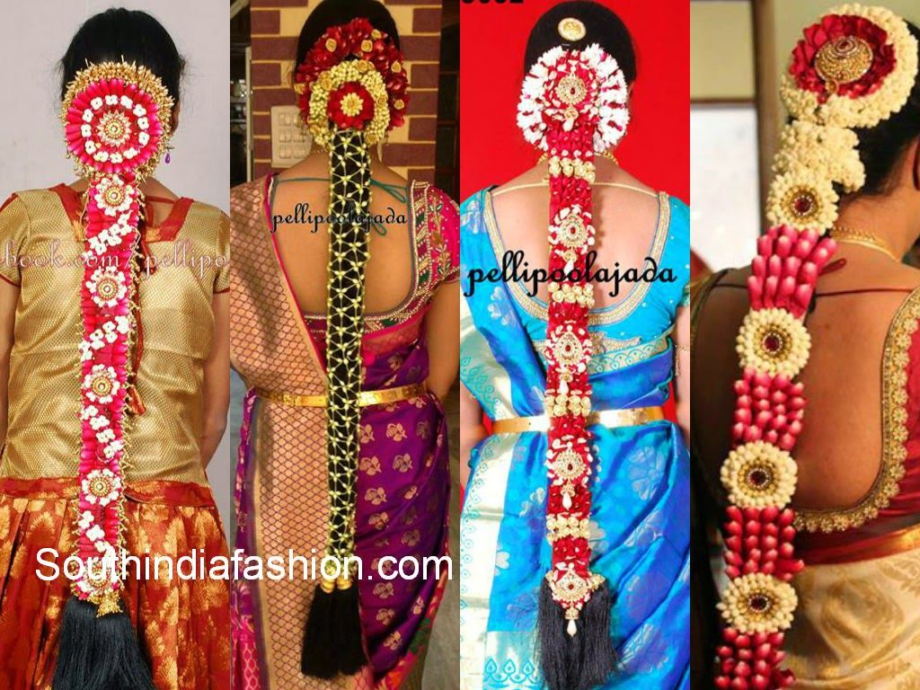 South Indian Floral Bridal Hair Styles Wedding Hair With Vail