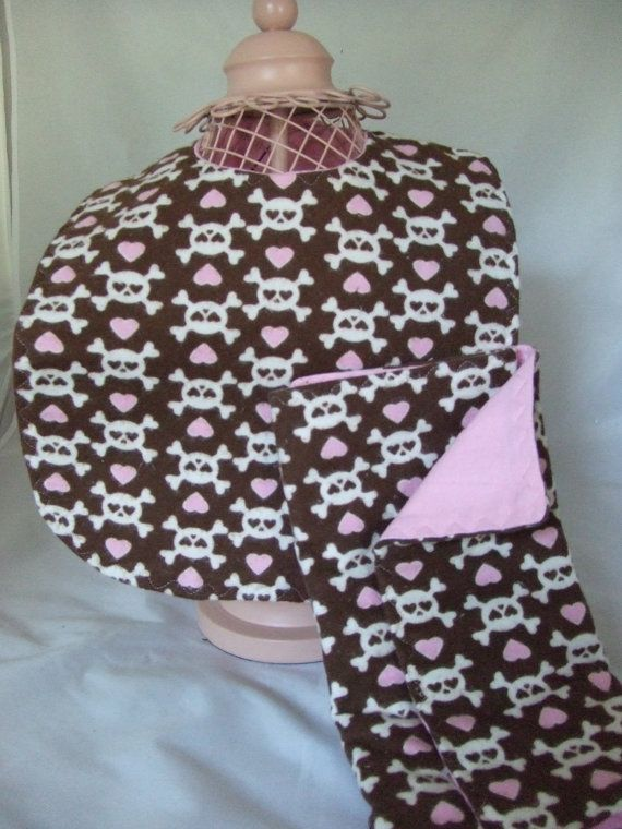 Pink and Brown Skully Bib and Burp Set Great Baby by boutiquegirl. $14.00, via Etsy.