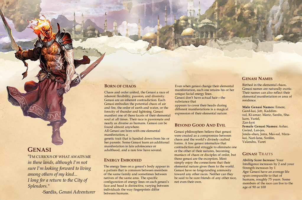 Dungeons and Dragons 5e ~ Race Design ~ Genasi 1 by