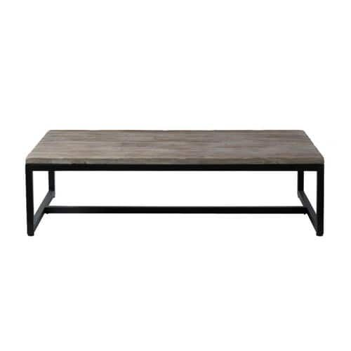 Table basse indus en bois et m tal long island ideas - Living room furniture long island ...