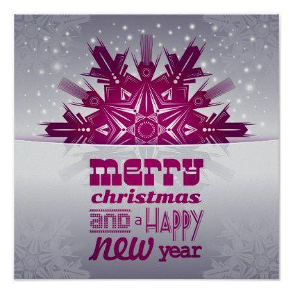 Snowflake Merry Christmas Happy New Year Poster Zazzle Com Merry Christmas Images Merry Christmas Wishes Merry Christmas And Happy New Year