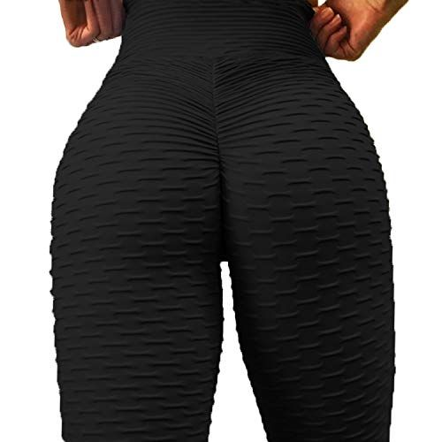 6123264b3f2b9e FITTOO Womens High Waist Textured Workout Leggings Booty Scrunch Yoga Pants  Slimming Ruched Tights Black