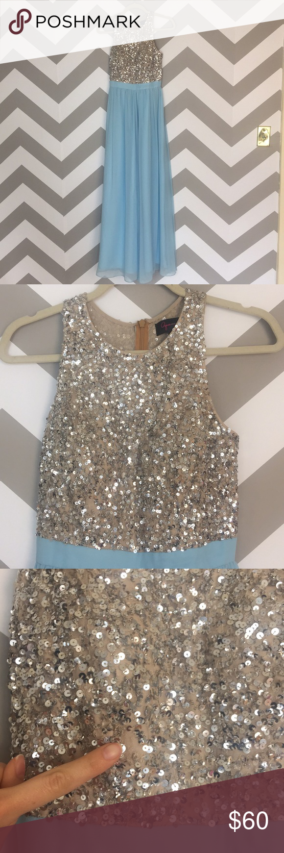 Aqua powder blue sequin chiffon prom gown my posh closet