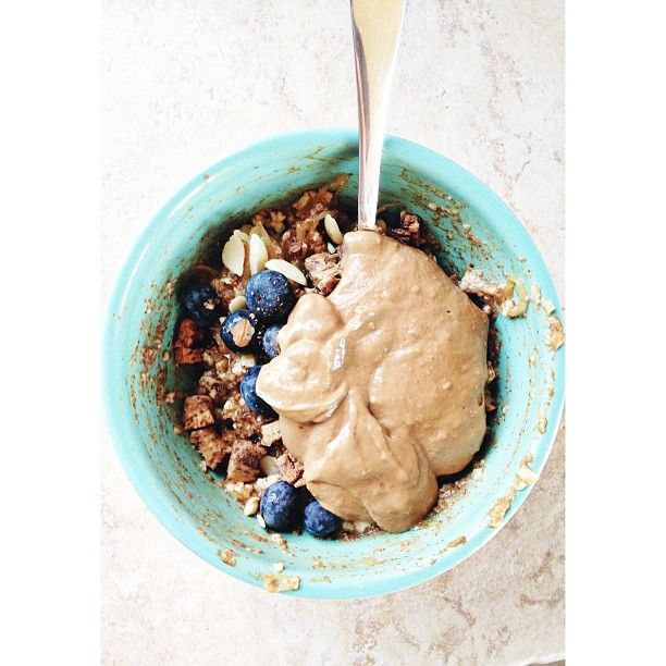 Peanut Butter Cinnamon Egg Bowl: 1/2 cup egg whites, microwaved with stevia and a splash of almond milk, 50 g spaghetti squash, baked 1 tsp cinnamon, Caramel extract, 1T sliced almonds, 25 g blueberries, 1/4 cookie dough questbar, chopped Mix all ingredients together. Separately mix 1T pb2 with 1T WF peanut spread and 1/2T milk. Spoon on top of egg mix