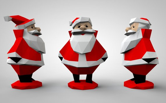 Santa Claus Figure New Year Papercraft Doll Christmas