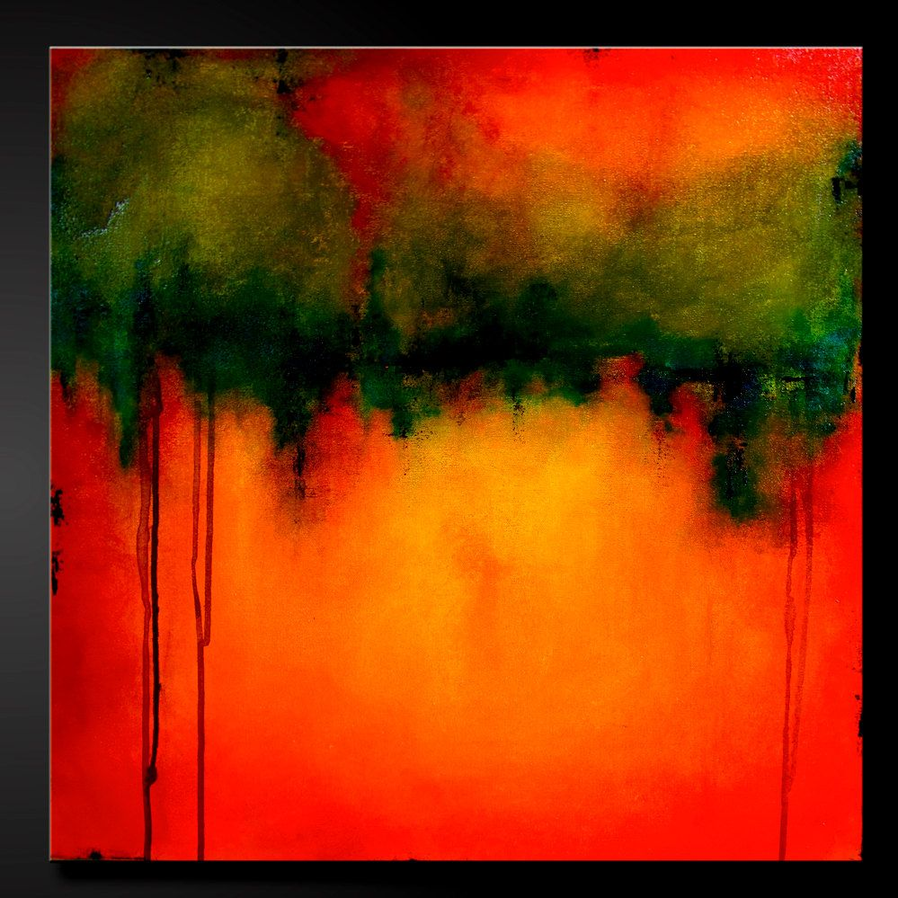 Abstract contemporary painting, red, orange, yellow, moss green, gold, black