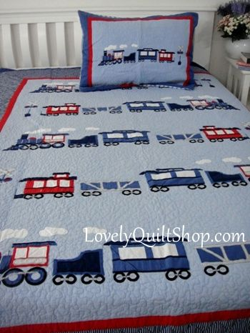Blue Choo Choo Train Applique Patchwork 2pc Quilt Set Boy