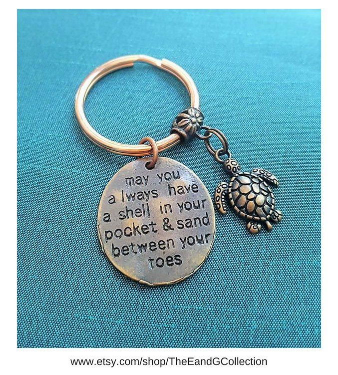 Keyring /'Coastal Key Ring Fob 'May you always have a Shell in Your Pocket/' Quote