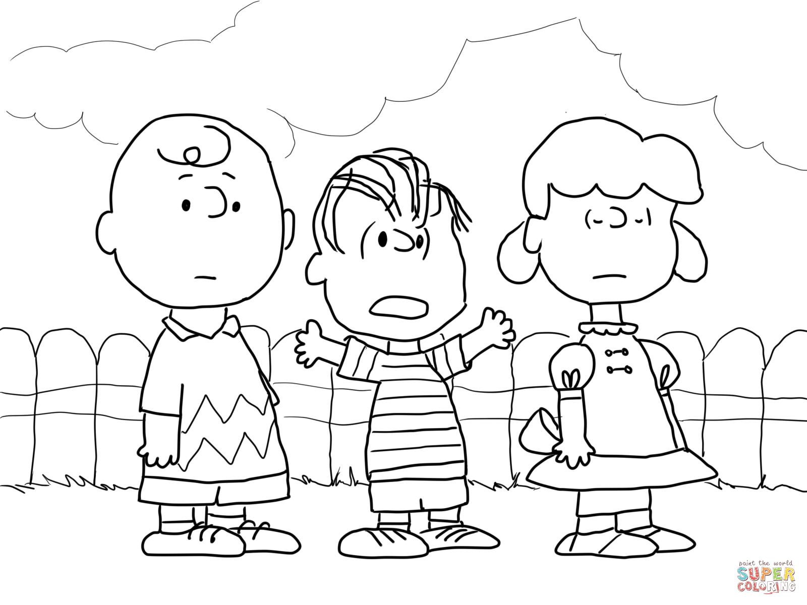 charlie brown lucy and linus coloring page supercoloring com