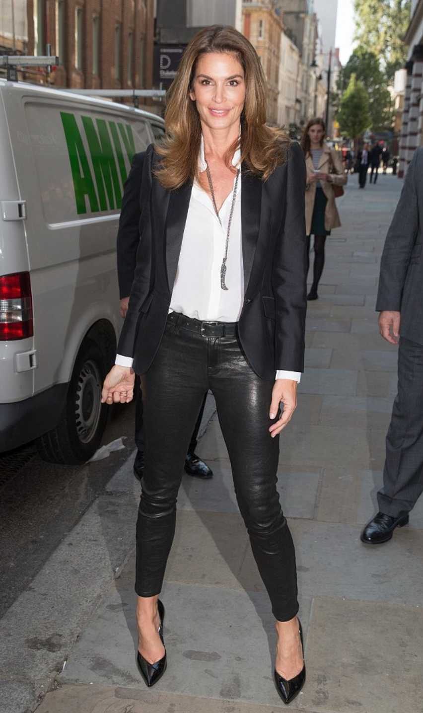 6a444092996b8 Cindy Crawford in her J BRAND L8001 Leather Super Skinny in Noir ...