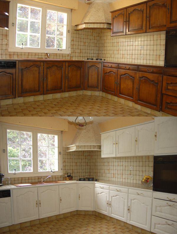 Relooking cuisine bois massif vannes rennes lorient bretagne armoires en 2019 renovation - Peindre des meubles en bois ...