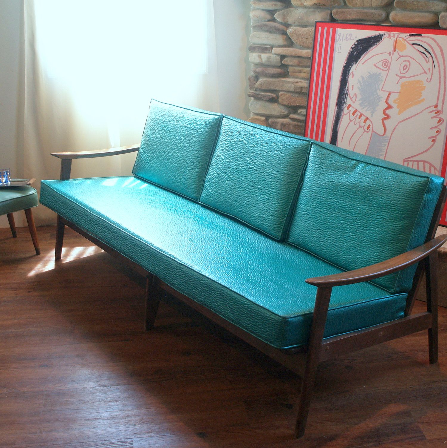 VINTAGE DANISH MODERN Sofa Lovely 1950u0027s Mid Century Modern Furniture  Lounge Style Solid Wood Teal And Walnut European Made Chicago Listing