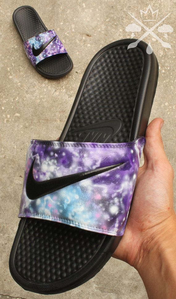 d7981fdf79bf Nike Custom Galaxy Nebula Benassi Swoosh Slide Sandals Flip flops ...