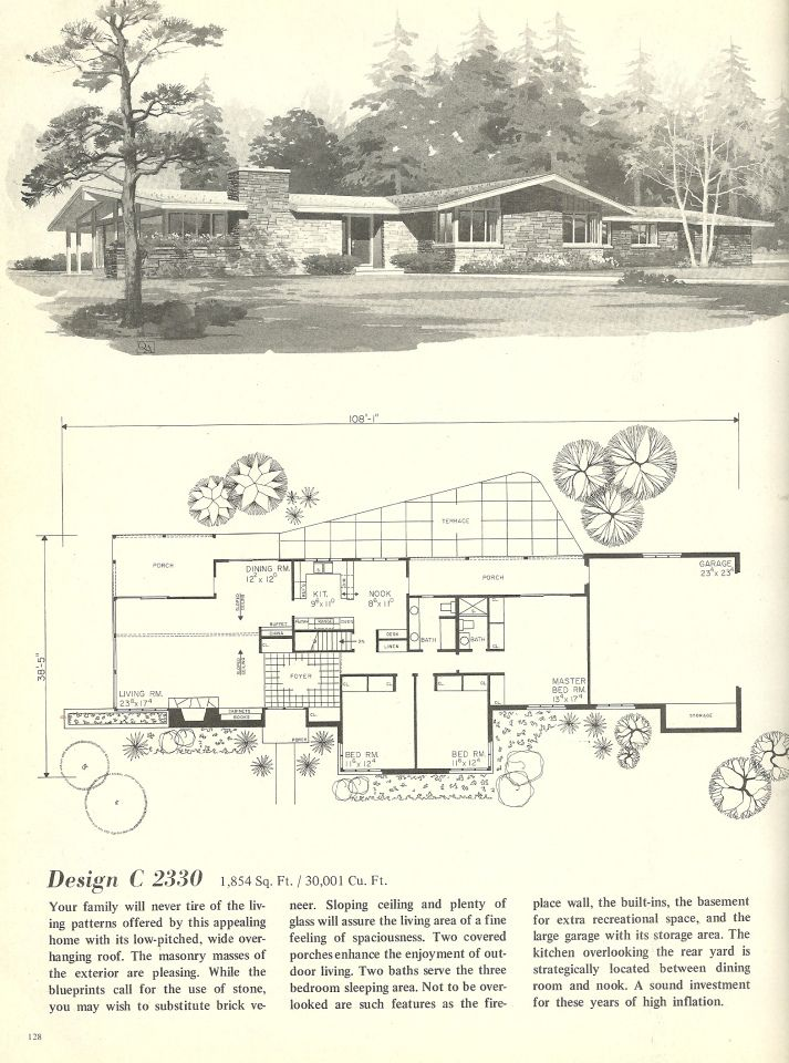 Vintage house plans 1960s houses mid century homes 1960s ranch style house plans