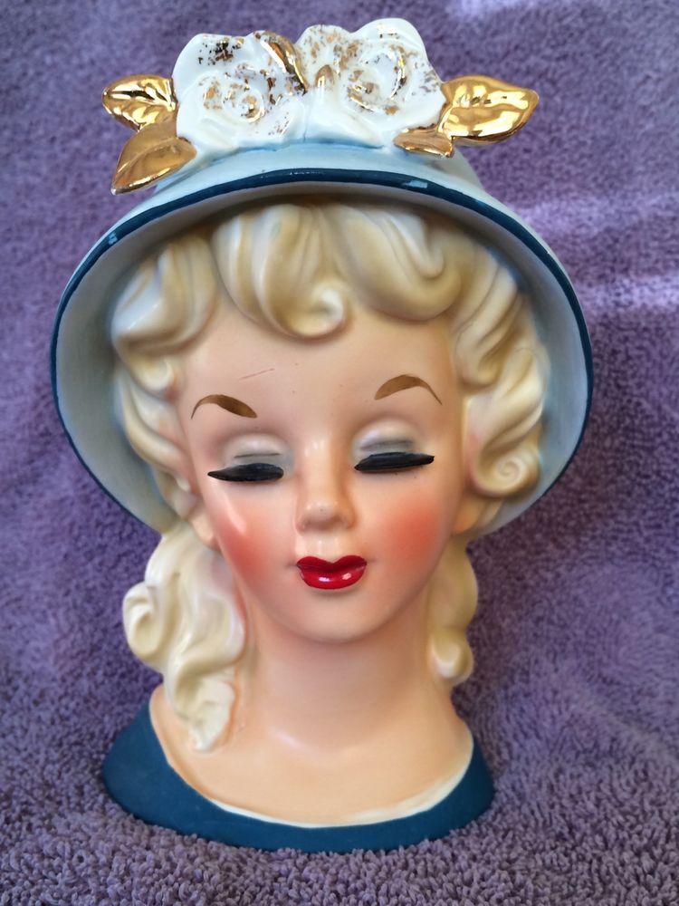 """Rare Exquisite 6"""" Vintage Dabs D-3221 Lady Head Vase"""