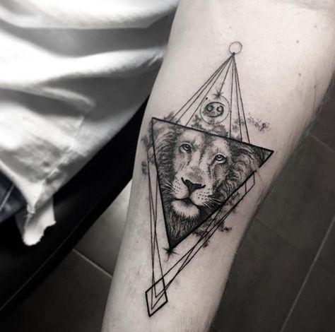Geometric Lion Tattoo By Sara Reichardt Geometric Tattoo Geometric Lion Tattoo Arm Tattoo