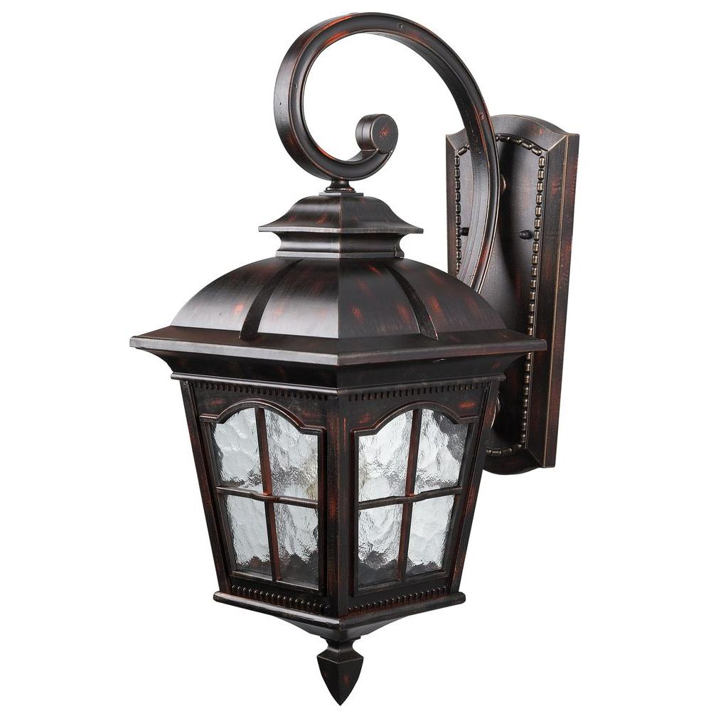 Canarm Madison 1 Light Rustic Bronze Outdoor Wall Lantern Sconce With Watermark Glass Iol144rbz Hd The Home Depot Wall Lantern Rustic Outdoor Lighting Outdoor Wall Lantern