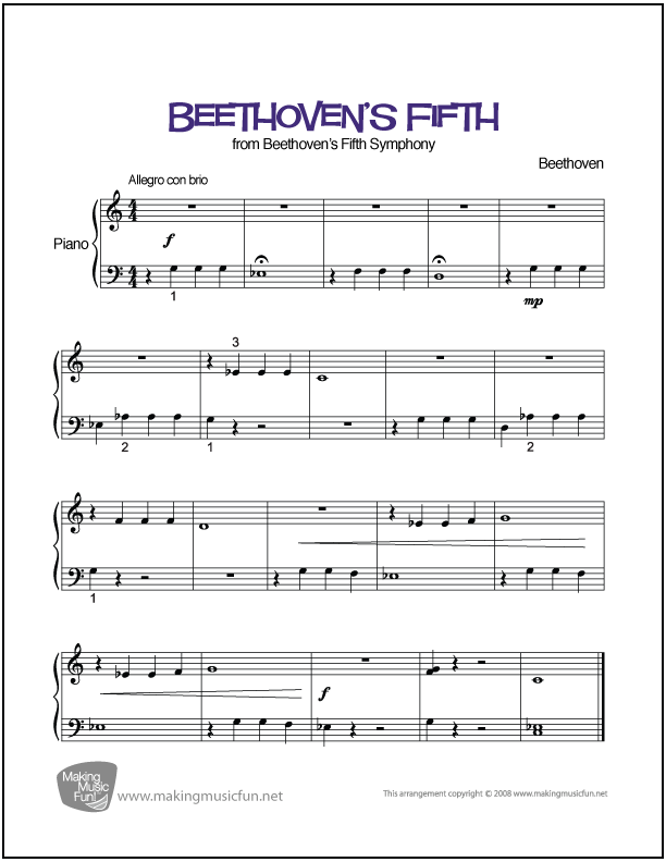All Music Chords 1812 overture music sheet : Beethoven's Fifth | Easy Piano Sheet Music (Digital Print) - Visit ...