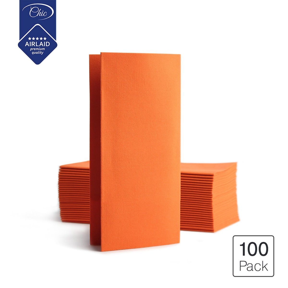SETI Deluxe Folded Disposable Linen-Feel Airlaid Dinner Party Paper Napkins, Orange, 100-Pack – Dini
