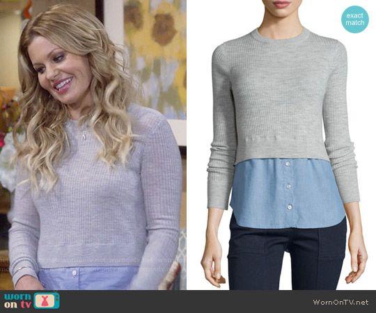 cbb98e405f DJ s grey layered sweater on Fuller House. Outfit Details  https   wornontv