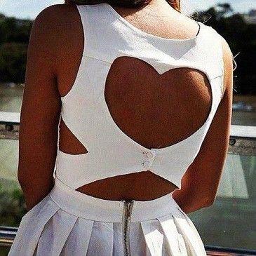 white heart back dress
