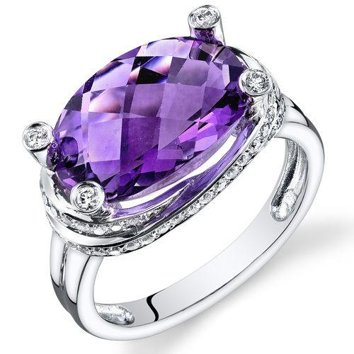 Pop Perfect Ring Diamontrigue Jewelry: Amethyst Ring 14 Karat White Gold Oval Shape 5.5 Carats
