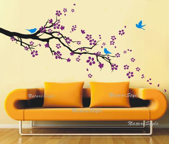 plum blossom with Flying Birds -Vinyl Wall Decal,branch decal birds ...