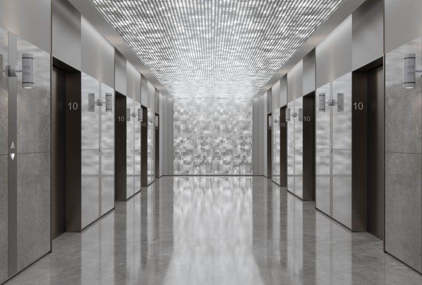 Arktura Vapor Pixel Backlit Ceiling Panels In An Elevator