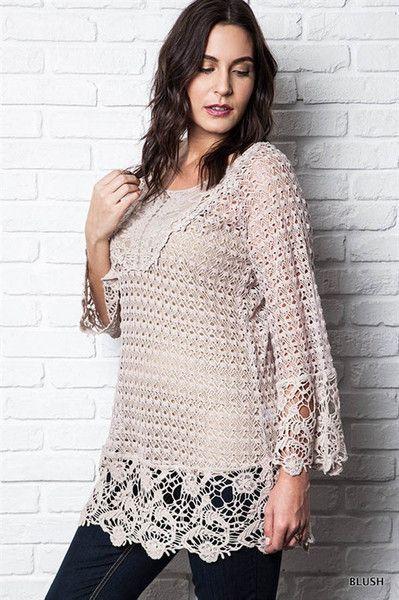 Blush Plus Size Crochet Tunic Crochet Szydeko Pinterest