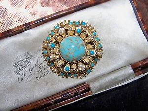 VINTAGE-SIGNED-SPHINX-JEWELLERY-TURQUOISE-CABOCHON-SEED-PEARL-BROOCH-FUR-PIN
