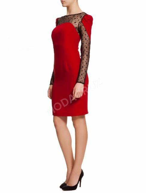 Kırmızı Kalem elbise siyah dantel uzun kollu abiye elbise 36 beden