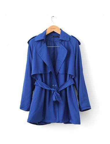 Vateno.com - Solid Color Shoulder Mark Belt Coat Blue