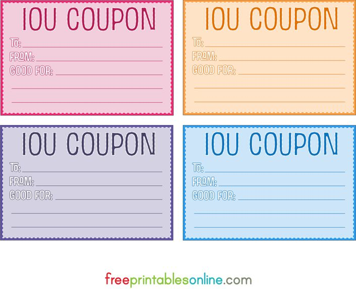 colorful free printable iou coupons printables pinterest free