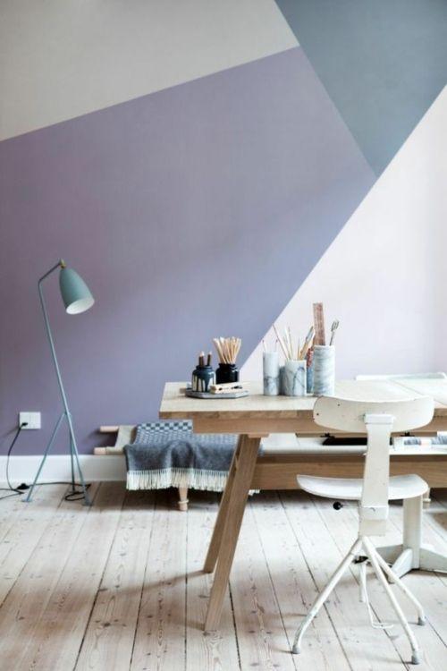 Wandmuster Ideen wanddekoration geometrisch formen decoration - wohnzimmer streichen grau ideen