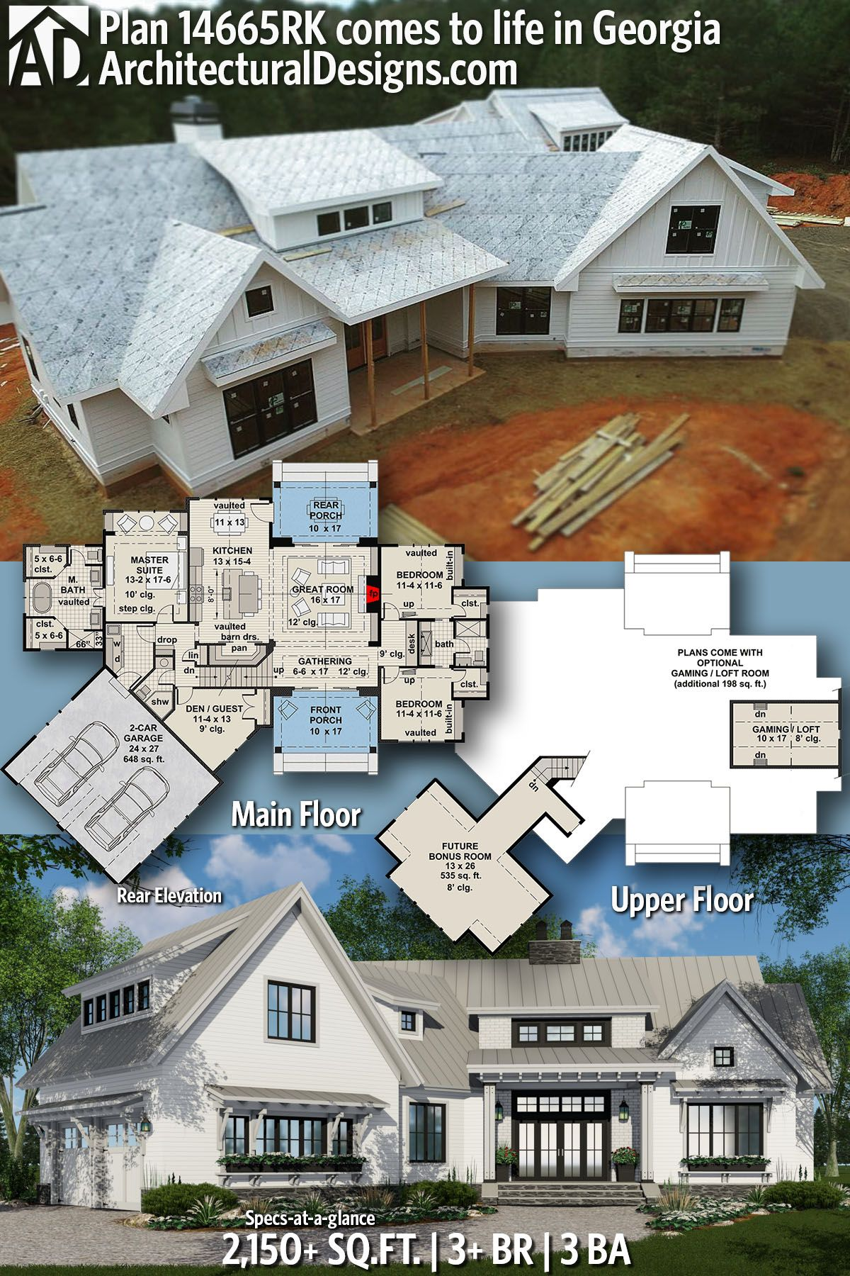 Plan 14665rk Expandable Farmhouse House Plan With Options